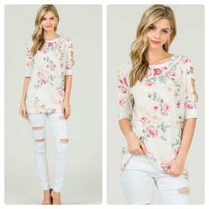 Tops - Ladder sleeve floral print top